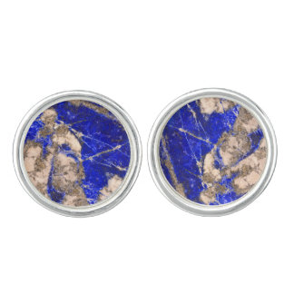 Abstract blue granite-marble cuff links