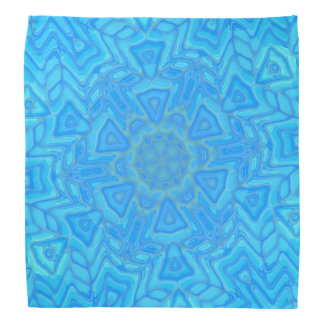 Abstract Blue Green and Turquoise Ice Flower Kerchief
