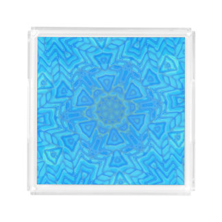 Abstract Blue Green and Turquoise Ice Flower Perfume Tray