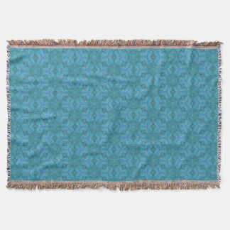 Abstract Blue & Green Floral Design Pattern Throw Blanket