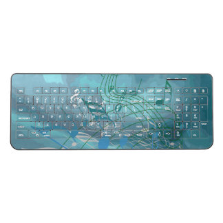 Abstract Blue & Green Music Notes Wireless Keyboard