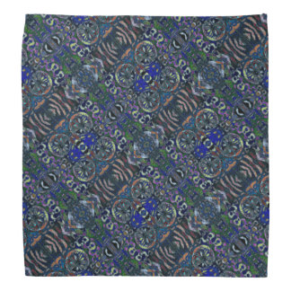 Abstract Blue Green Pattern Bandana