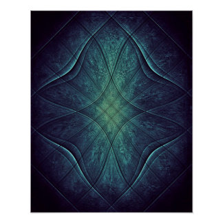 Abstract Blue Green Pattern Poster