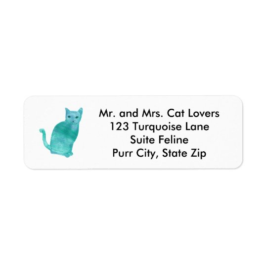 Abstract Blue Green Turquoise Cat Address Labels