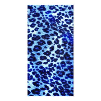Abstract Blue Hipster Cheetah Animal Print Photo Card