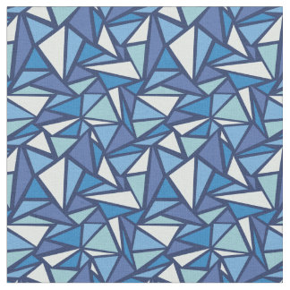 Abstract Blue Ice Crsytal Pattern Fabric