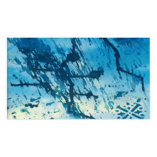 Abstract Blue Ink Splatters Funky Grunge Design Business Card