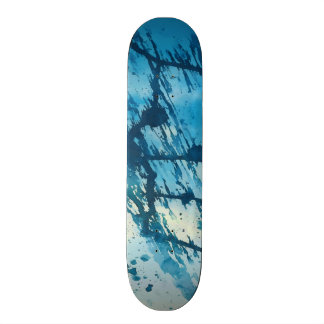 Abstract Blue Ink Splatters Funky Grunge Design Skateboard Decks