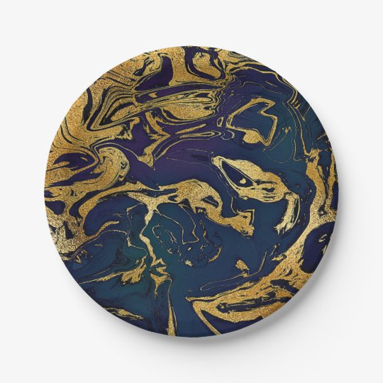 Abstract Blue Jungle Purple Marble Party Vip 7 Inch Paper Plate