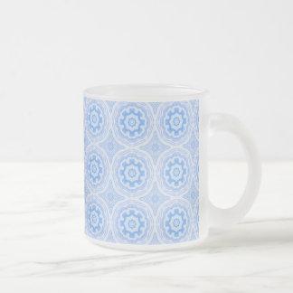 Abstract Blue Kaleidoscope Pattern 10 Oz Frosted Glass Coffee Mug