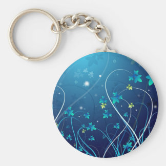 Abstract blue basic round button keychain