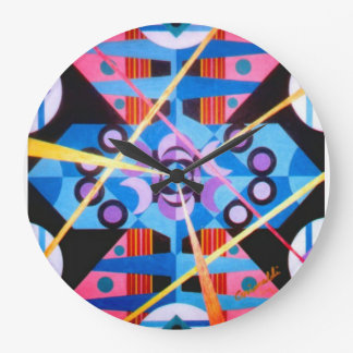 ABSTRACT BLUE LARGE ROUND WALL CLOCK