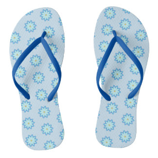 Abstract Blue Lotus Flowers Painting FlipFlops