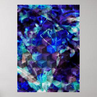 Abstract Blue Modern Art Print