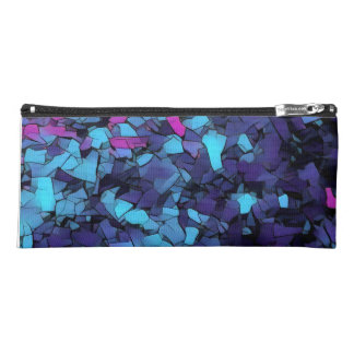 Abstract blue mosaic pencil case