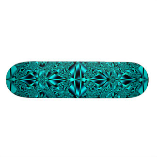 Abstract Blue Neon Aqua Crystals Skate Deck 7 7/8""