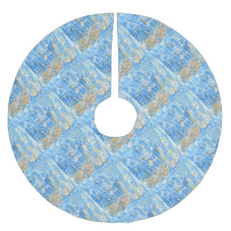 Abstract blue painting brushed polyester tree skirt