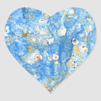 Abstract blue painting heart sticker