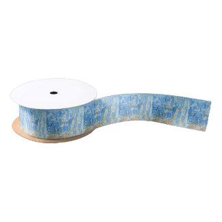 Abstract blue painting satin ribbon