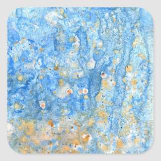 Abstract blue painting square sticker