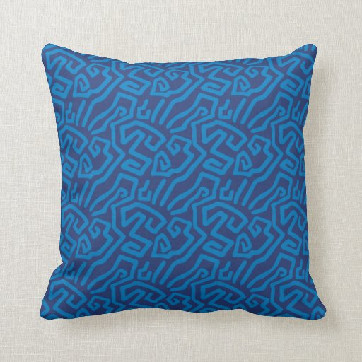 abstract blue pattern throw pillow
