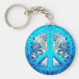 Abstract Blue Peace Sign Basic Round Button Keychain