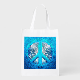 Abstract Blue Peace Sign Market Tote