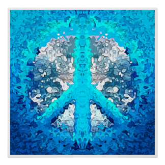 Abstract Blue Peace Sign Poster