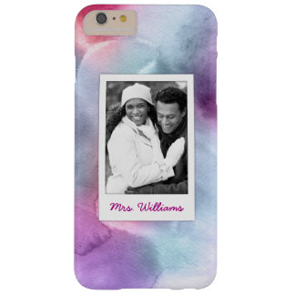 Abstract Blue & Pink Watercolor | Add Photo Barely There iPhone 6 Plus Case