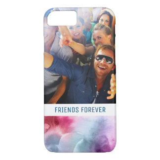 Abstract Blue & Pink Watercolor | Add Photo iPhone 8/7 Case