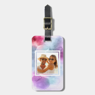 Abstract Blue & Pink Watercolor | Add your Name Luggage Tag