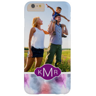 Abstract Blue & Pink Watercolor | Monogram Barely There iPhone 6 Plus Case