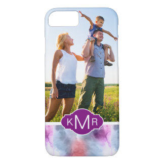 Abstract Blue & Pink Watercolor | Monogram iPhone 8/7 Case