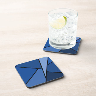 Abstract Blue Polygons Coaster