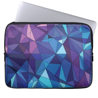 Abstract blue purple polygonal design laptop computer sleeves