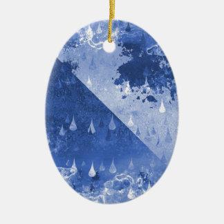 Abstract Blue Rain Drops Design Ceramic Ornament