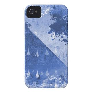 Abstract Blue Rain Drops Design iPhone 4 Case