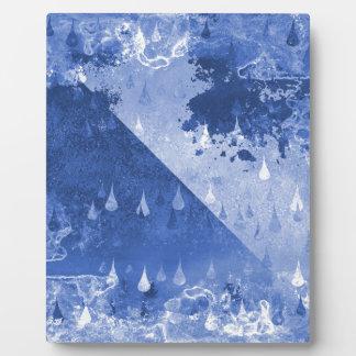Abstract Blue Rain Drops Design Plaque