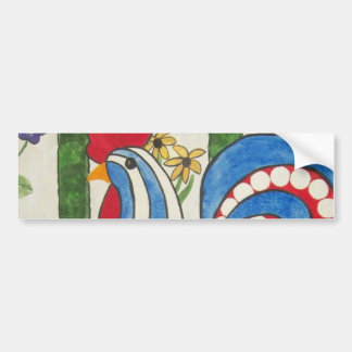 abstract blue rooster bumper sticker