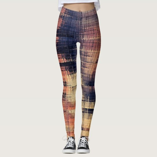 Abstract Blue Rose Peach Pattern Leggings