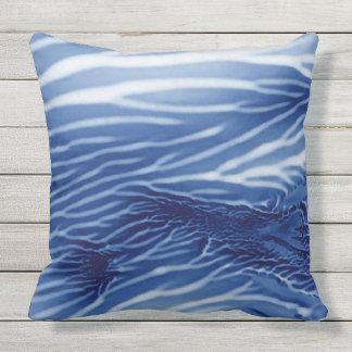 Abstract Blue Sea Monoprint Outdoor Pillow