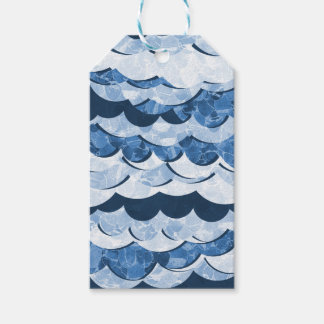 Abstract Blue Sea Waves Design Gift Tags