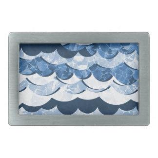 Abstract Blue Sea Waves Design Rectangular Belt Buckle