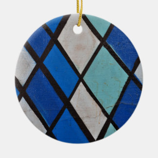 abstract blue shapes pattern round ceramic ornament