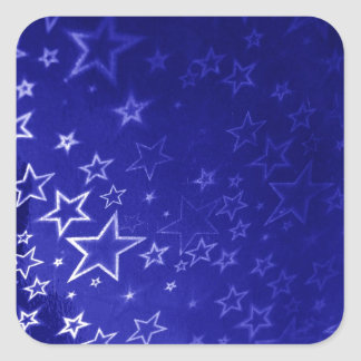 Abstract blue star background design square sticker