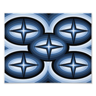 Abstract Blue Star Photo Print