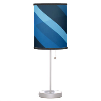 Abstract Blue Stripes Pattern Desk Lamps