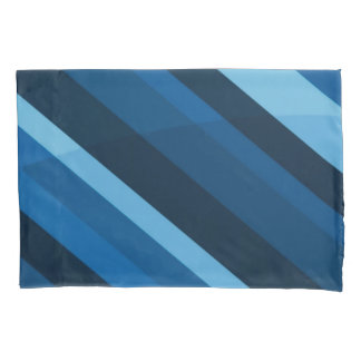 Abstract Blue Stripes Pattern Pillowcase