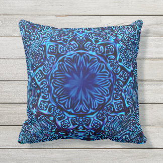 Abstract Blue Sun Outdoor Pillow