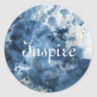 Abstract blue watercolor background classic round sticker